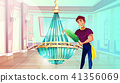 Ballroom chandelier cleaning vector illustration 41356069