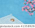 종이의 감촉 기와 자고있는 고양이 벚꽃 41358926