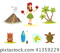 Hawaii icons dancer woman tiki gods totem pole tiki torches and fish vector illustration. 41359229