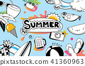 Summer doodle symbol design for beach party  41360963