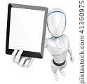 3D Humanoid robot with a blank screen tablet 41360975