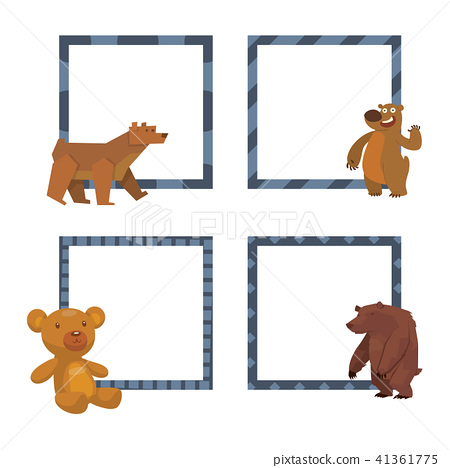 Bear animal vector frames mammal teddy grizzly funny happy cartoon ...