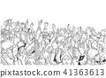 Large demonstration with raised hands vector 41363613