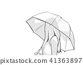 Illustration of young woman holding umbrella  41363897