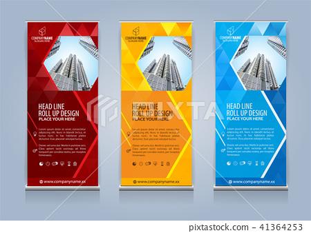 Roll Up Banner Template Design Vector Illustration Stock