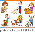 children with dogs cartoon set 41364531