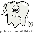 sad tooth cartoon character with cavity 41364537