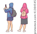 Illustration of tourist girls sightseeing in rain 41364545