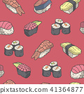Seamless pattern background with japanese sushi 41364877