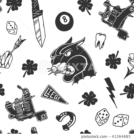 Seamless Pattern Background Old School Tattoo Stock Illustration