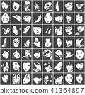 Seamless pattern of female portraits black white 41364897