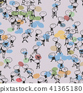 Seamless pattern of people walking with umbrella 41365180