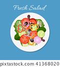Fresh vegetable and green leaf salad dish 41368020