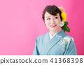 和服的女人與奇怪的頭髮化妝 41368398