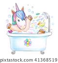 Bathing baby unicorn. 41368519