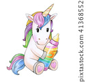 Cute baby  unicorn cartoon. 41368552