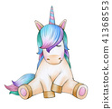 Cute sitting unicorn cartoon. 41368553