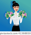 Business woman holding lot of money 41368830
