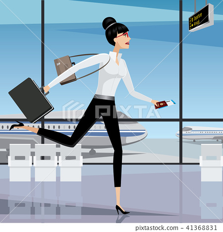 Business woman late for the plane 41368831