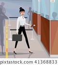 Business woman pass the passport control 41368833