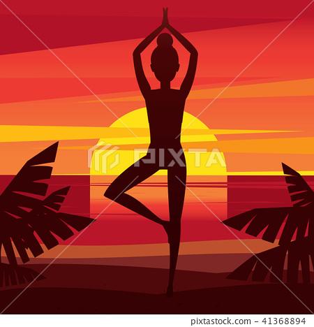 Girl meditating on the coast at sunset 41368894