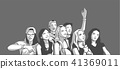 Friends cheering at live concert festival party 41369011