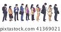 People standing waiting in line vector art 41369021