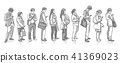 People standing waiting in line vector art 41369023