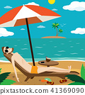 Man sunbathing on the beach 41369090