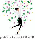 Money falling on business woman 41369096