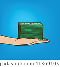 Outstretched hand with wad of cash 41369105