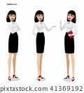 Set of businesswomen on white background 41369192