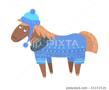 Happy Horse in Sweater and Hat Vector Illustration 41372526
