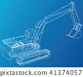Excavator technical wire-frame. Vector rendering of 3d. 41374057