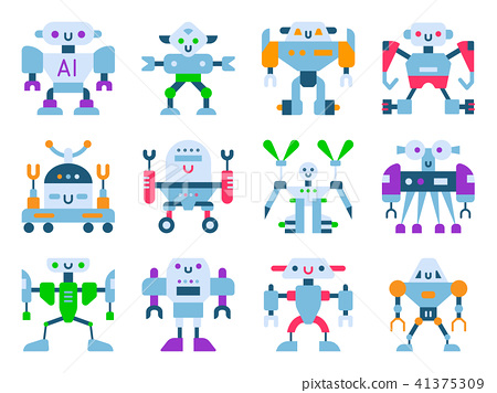 Robots Vector Cartoon Robotic Kids Toy Cute Character Monster Or