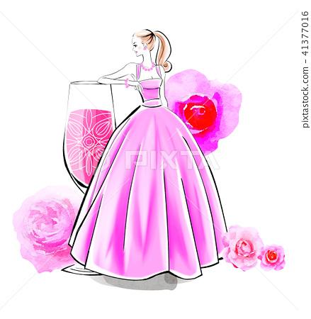 玫瑰雞尾酒和禮服 41377016