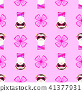 Ferret girl portrait with pink glasses and scarff. Seamless pattern. Vector illustration. 41377931