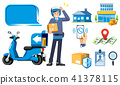 a parcel by motorcycle delivery service. 41378115