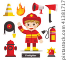 Set of character, icon of Profession Firefighter. 41381717