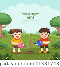 Cute kids volunteers planted. 41381748