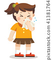 Sick Kid. A girl with handkerchief in hand. 41381764