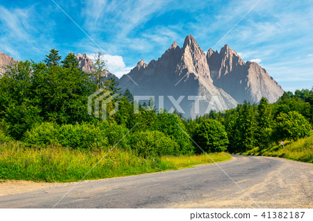 road through forest in to the mountains 41382187
