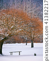 wooden bench under the trees in winter forest 41382217