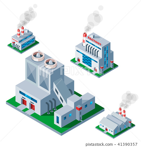 Isometric factory building icon industrial element warehouse architecture house vector illustration 41390357