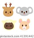 사슴 코알라 검은 양 햄스터의 얼굴 41391442