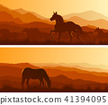 Wide banners of horses grazing in meadows. 41394095