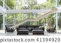 Modern living room with garden view 3d render 41394920
