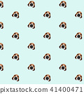 Beagle dog on blue background pattern. Animal seam 41400471