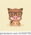 Cute Cartoon Wild Boar. Funny Vector Animal. 41400738