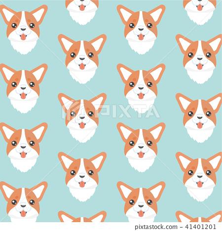 Happy dog welsh corgi orange vector background.  41401201